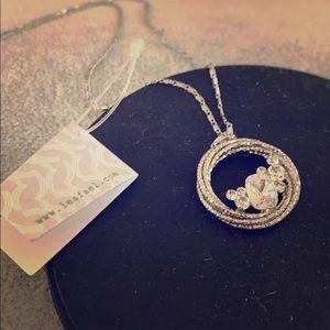 Sterling Silver Circle Pendant, Swarovski Crystal